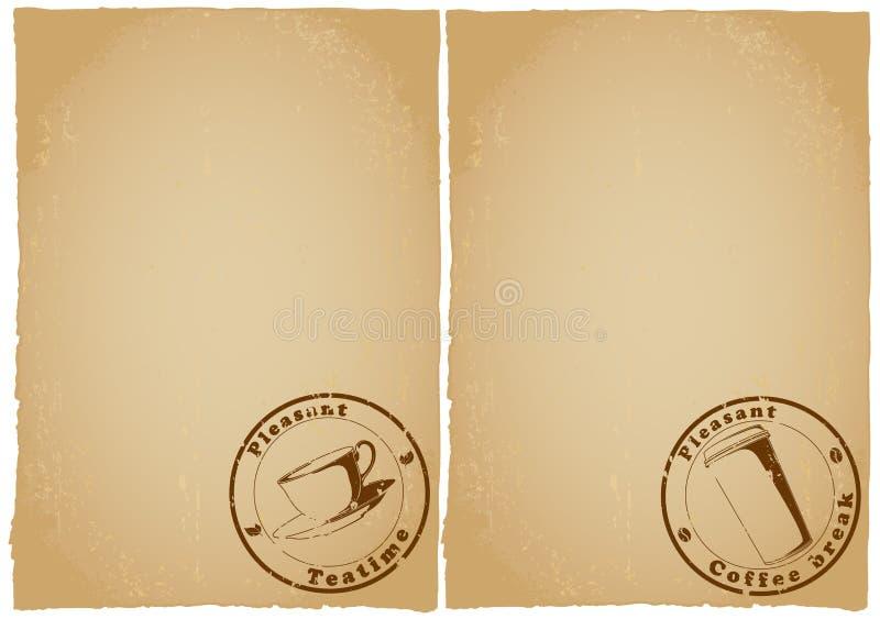 kawy formularzowy grunge menu tapetuje herbaty royalty ilustracja