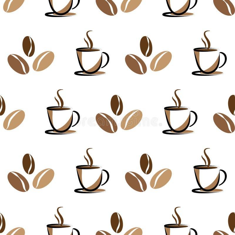 Kawy i fasoli bezszwowy tło na bielu ilustracji
