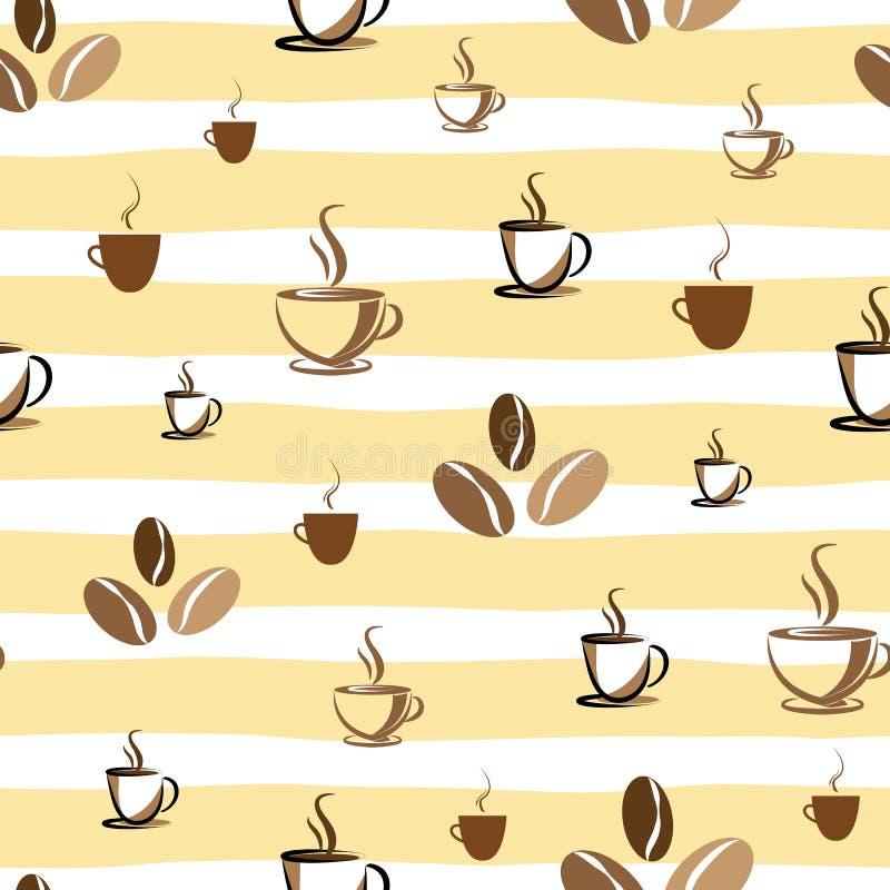 Kawy i fasoli bezszwowy wzór na kolorze żółtym paskował tło ilustracji