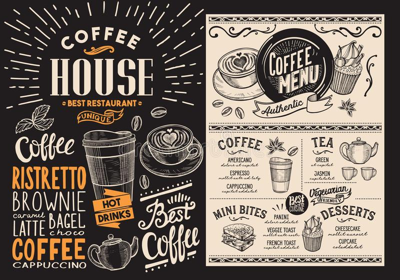 Kawy i napoju restauraci menu Napój ulotka dla baru i caf royalty ilustracja