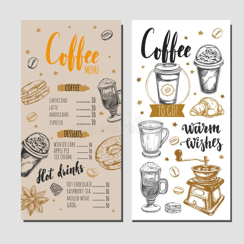 Kawy i piekarni restauracyjny menu 4 ilustracji