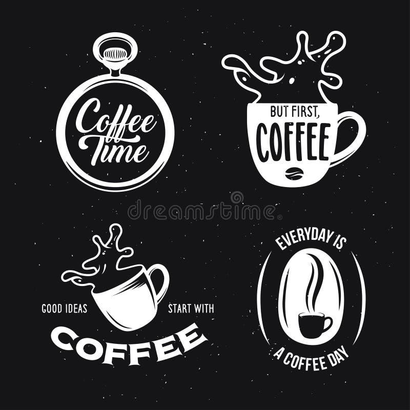 Kawy odnosić sie wycena ustawiać Wektorowa rocznik ilustracja ilustracji