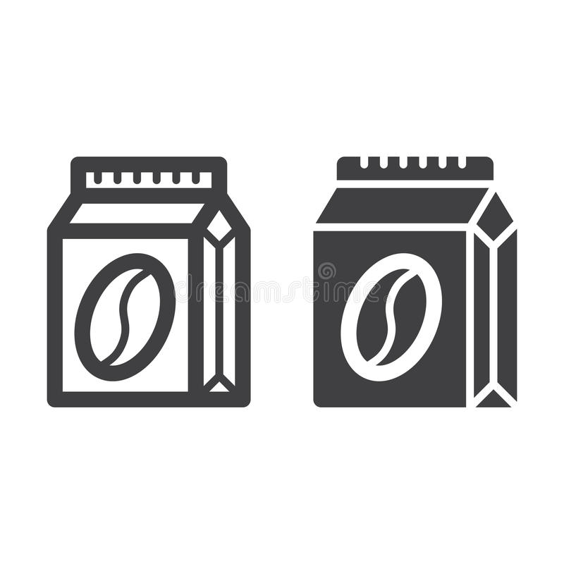 Kawy paczka kreskowa, stała ikona, kontur i piktogram odizolowywający na bielu, wypełniający wektoru znaka, liniowego i pełnego, ilustracja wektor