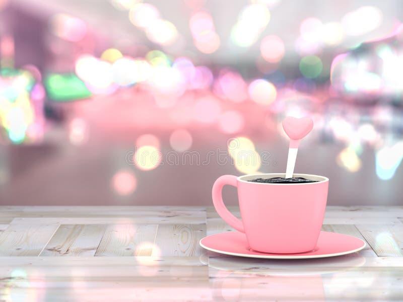 Kawy różowa filiżanka na drewnianym stole ilustracji