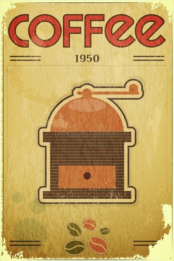 Kawy retro młyński ilustracja wektor