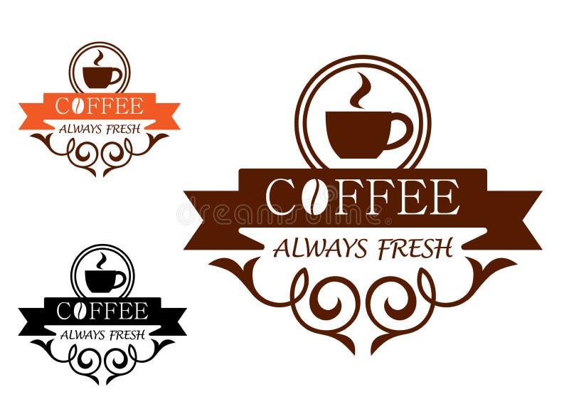 Kawy Zawsze Świeża wektorowa etykietka ilustracji