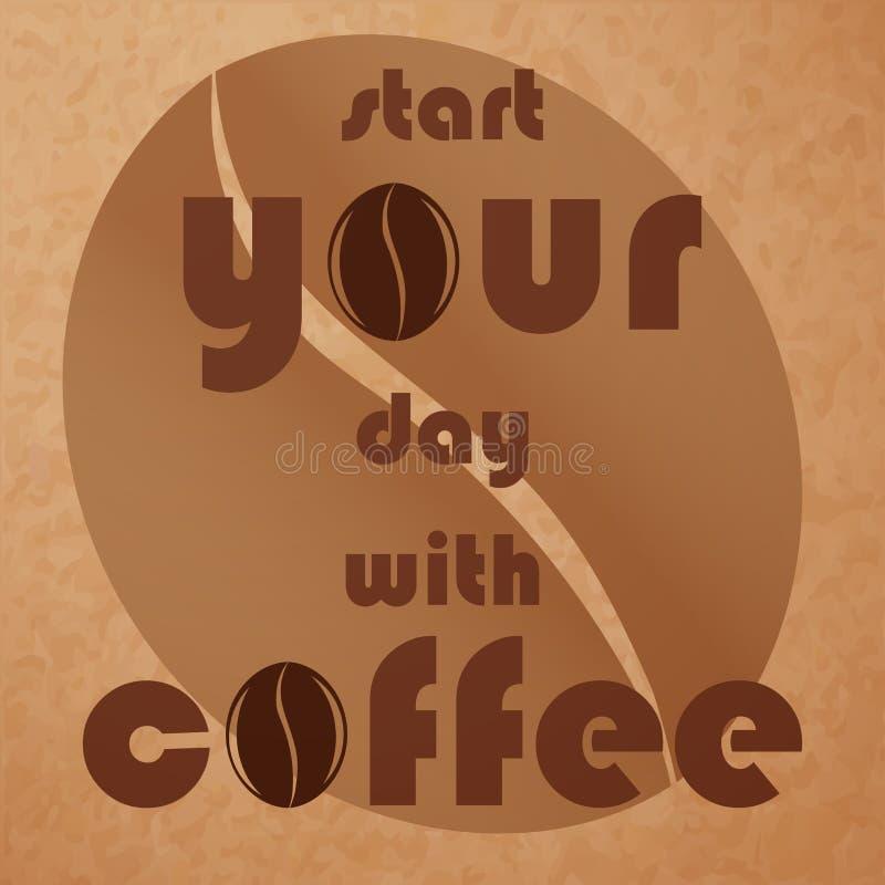 Kawy zbożowy zakończenie i motywacyjna inskrypcja Kawa i m royalty ilustracja
