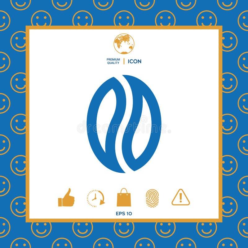 Kawy ziarno - logo royalty ilustracja