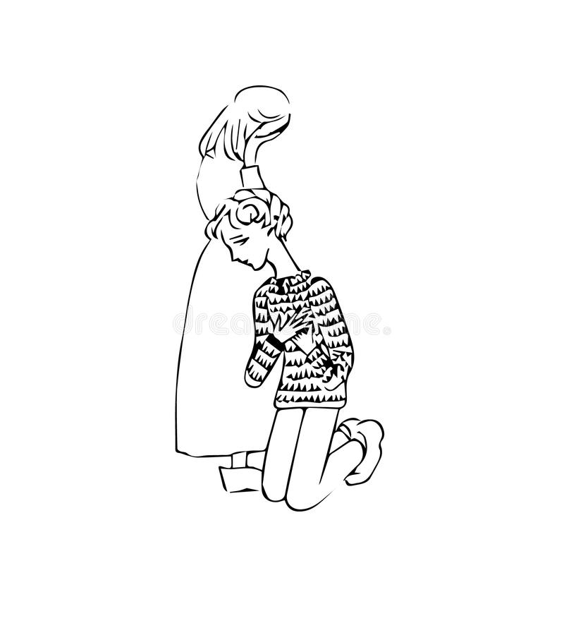 Kay en Gerda stock illustratie