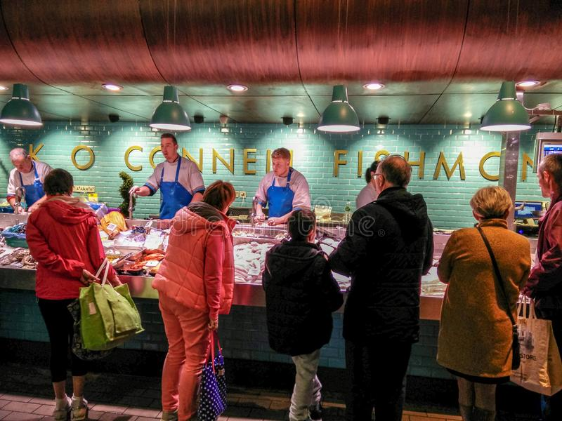 Ireland. Cork. The English Market. Kay O' Connell Fishmongers. The famous stocked bench sale of excellent fish products that boasts between its numerous admirers stock images