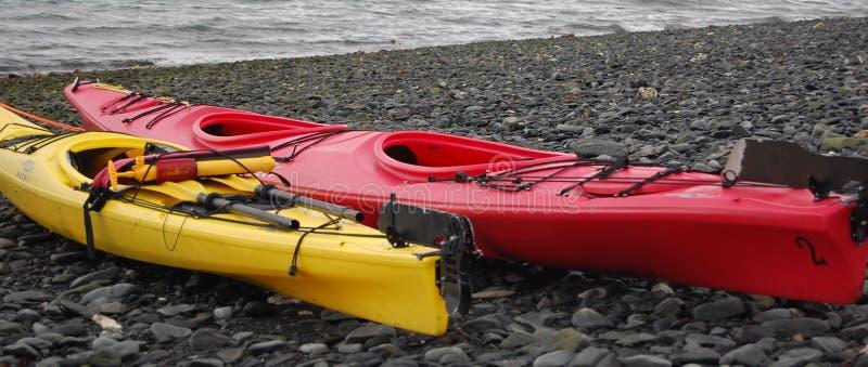 Colorful Kayak on the beach, Alaska royalty free stock image
