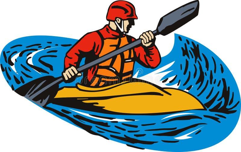 Kayak. Vector art on the adventure sport of kayaking