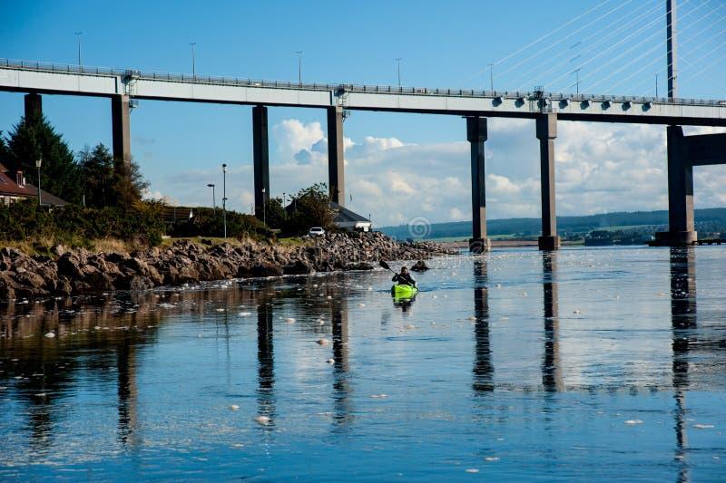 Kayak accanto al ponte di Kessock immagini stock