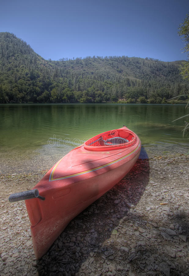Kayak on beach stock image