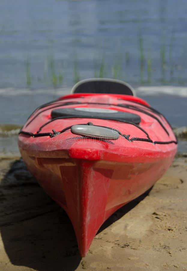 Boat for tourists on the banks of the river. kayak on the beach. boat and lake stock photo