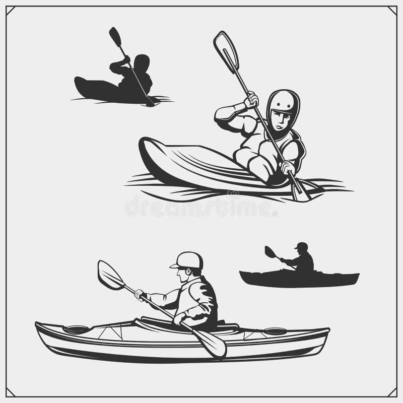 Kayak and canoe emblems, labels, badges and design elements. Print design for t-shirts. vector illustration