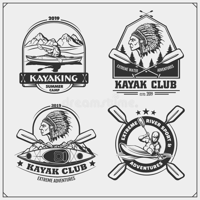 Kayak and canoe emblems, labels, badges and design elements. Print design for t-shirts. royalty free illustration