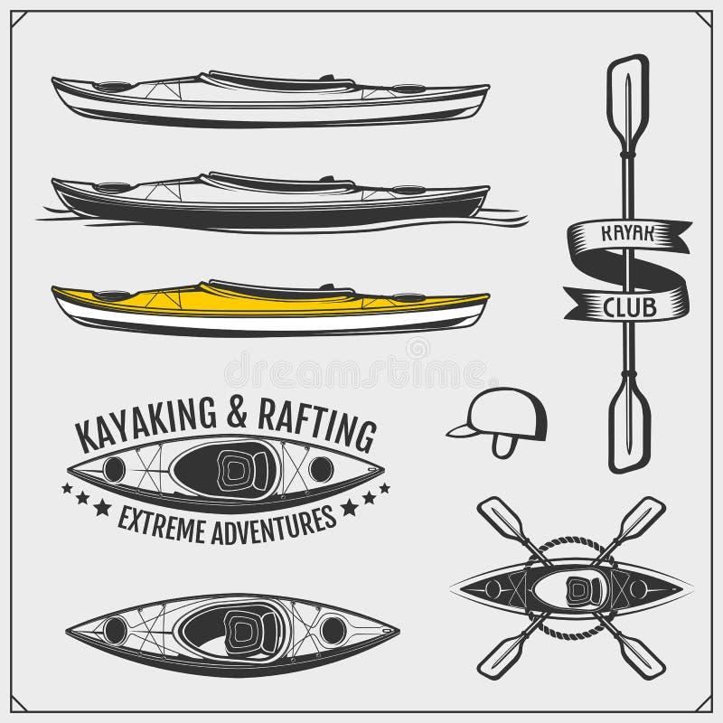 Kayak and canoe emblems, labels, badges and design elements. Print design for t-shirts. stock illustration