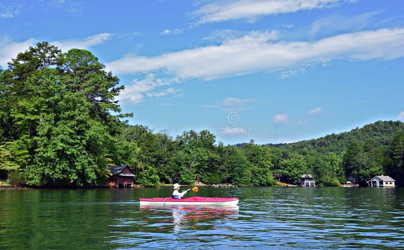 Kayak della donna fotografia stock