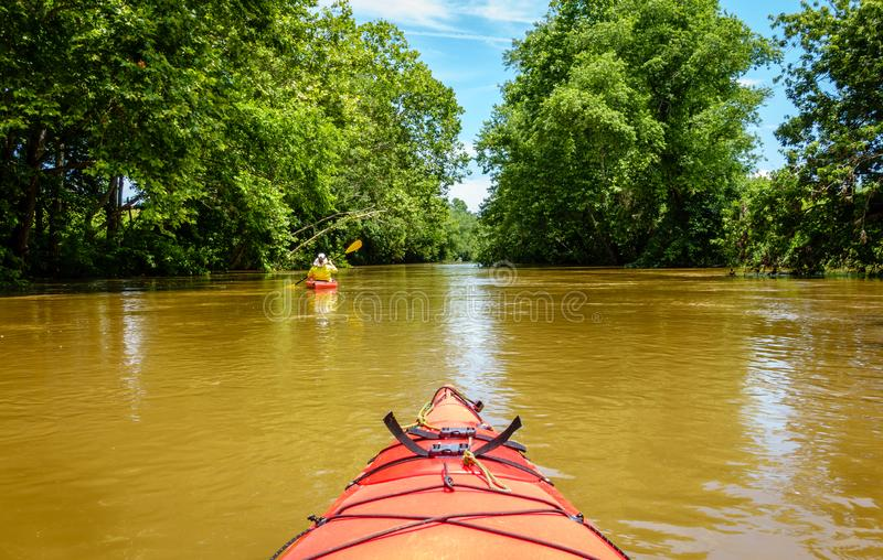 Kayak fahren auf einem Nebenfluss in Mittel-Kentucky stockfotografie