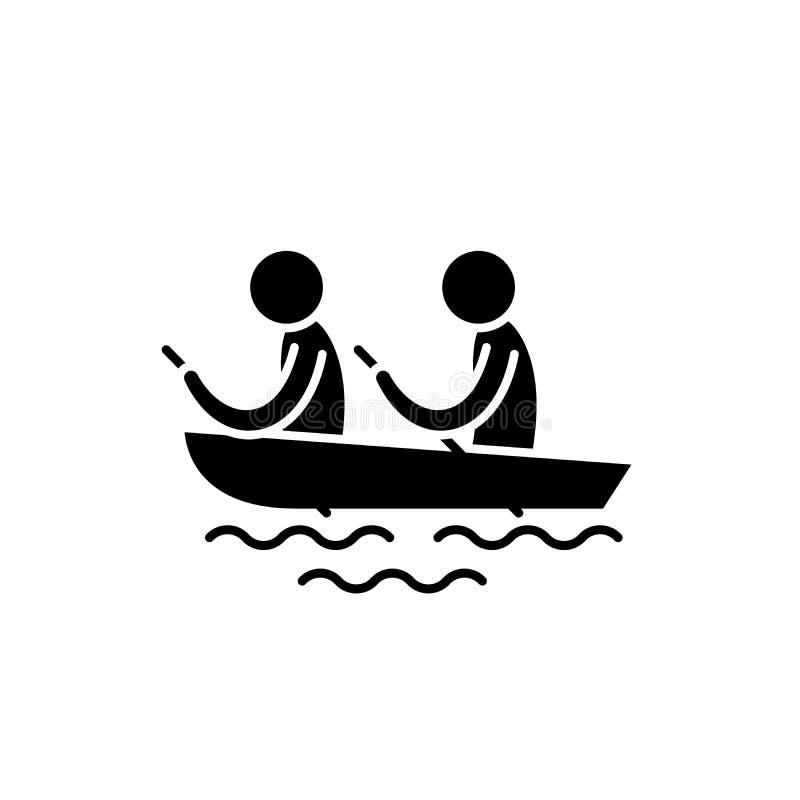 Kayak fahrende schwarze Ikone, Vektorzeichen auf lokalisiertem Hintergrund Kayak fahrendes Konzeptsymbol, Illustration lizenzfreie abbildung