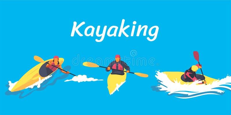 Kayak fahrender Illustrationssatz vektor abbildung