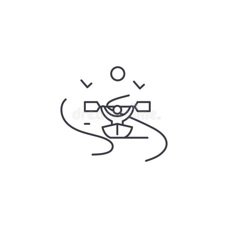 Kayak fahrender Vektor zeichnen Ikone, Zeichen, Illustration auf Hintergrund, editable Anschläge vektor abbildung