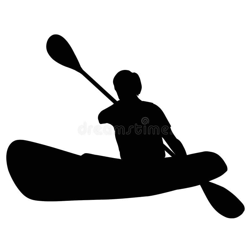 Kayak fahrendes lokalisiertes Schattenbild lizenzfreie abbildung
