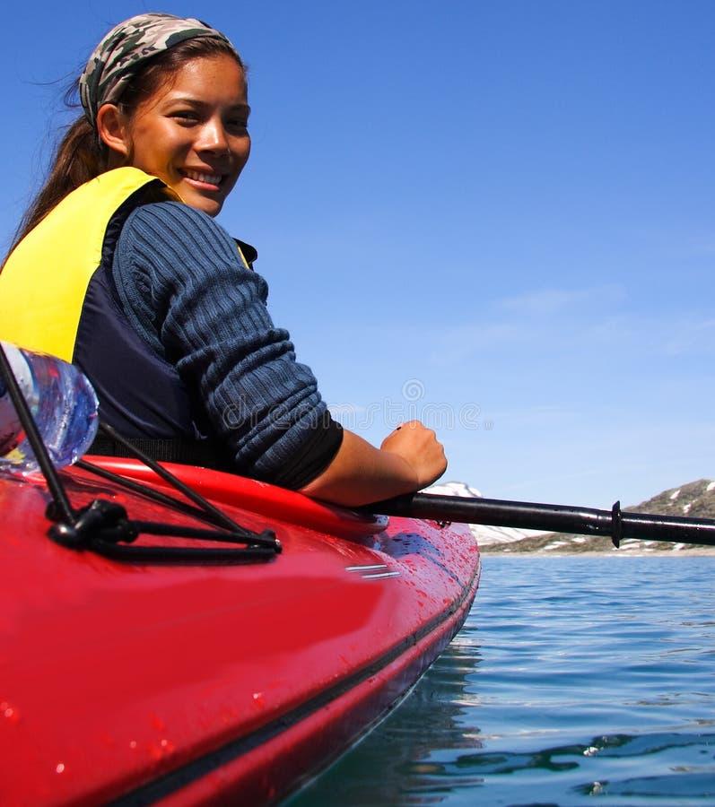 Kayak girl royalty free stock photo