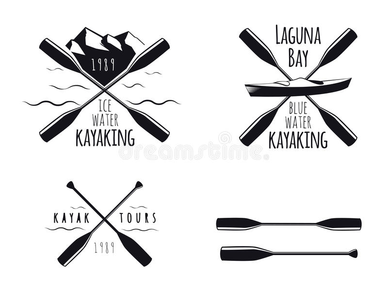 Kayak Icons. Set of kayak emblems, badges and icons
