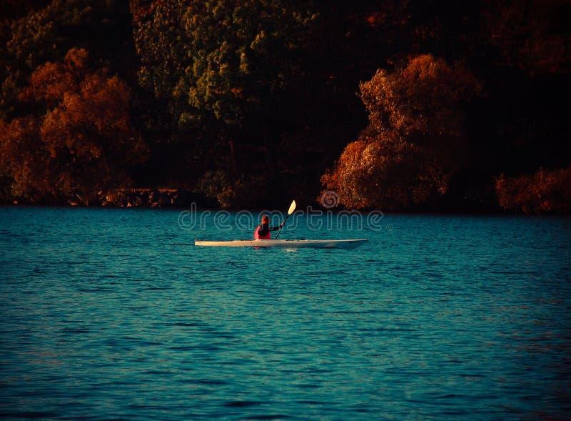 Kayak on the lake royalty free stock photo