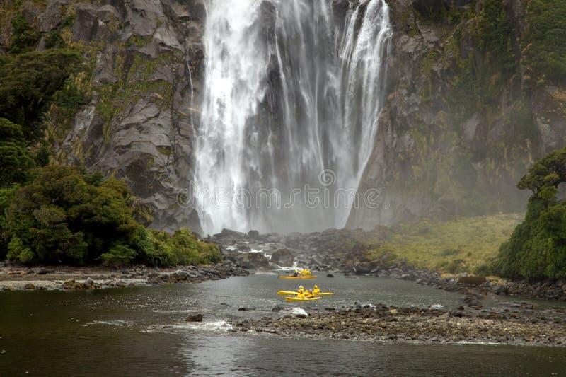 Download Kayak Milford Sound stock image. Image of sound, cascade - 25600957