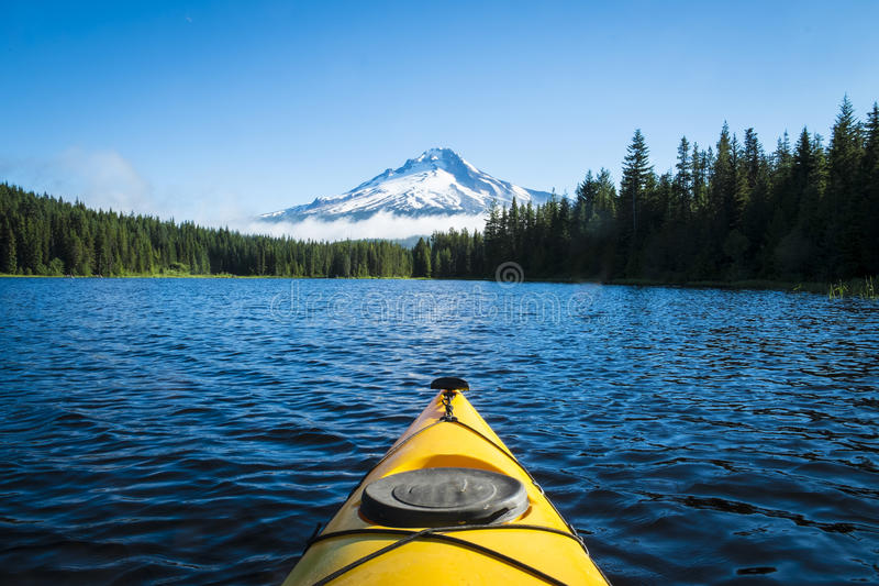 Kayak in mountain lake, Mt. Hood, Oregon stock images