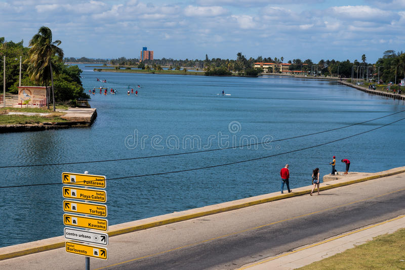 Kayak paddlers and tourists in Varadero stock photo