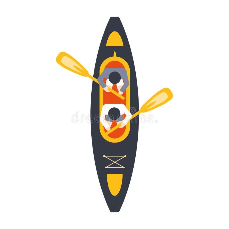 Kayak pour deux Person With Peddles From Above, une partie de bateau et séries de sports aquatiques des illustrations plates simp illustration de vecteur