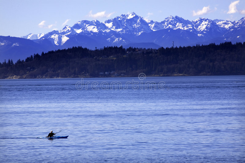 Kayak Puget Sound Olympic Mountains Washington Stock Photo ...