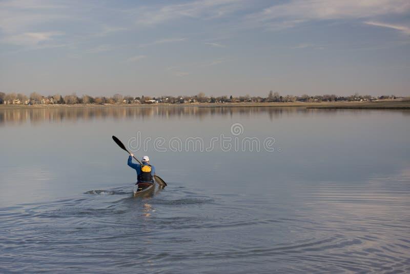 Download Kayak Race Training On A Lake Stock Image - Image: 4443793