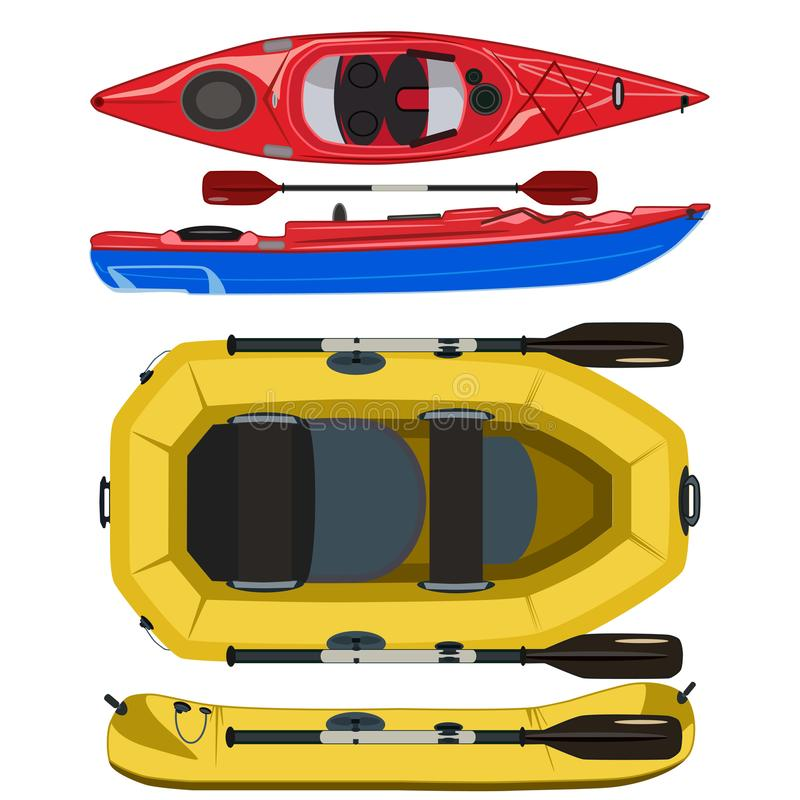 Kayak and rafting inflatable rubber boat vector flat illustration. Kayak and rafting boat icon set. Vector top and side view illustration isolated on white royalty free illustration