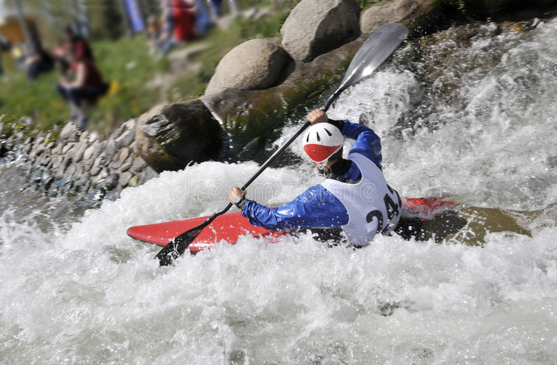 Kayak on the rapids stock photo
