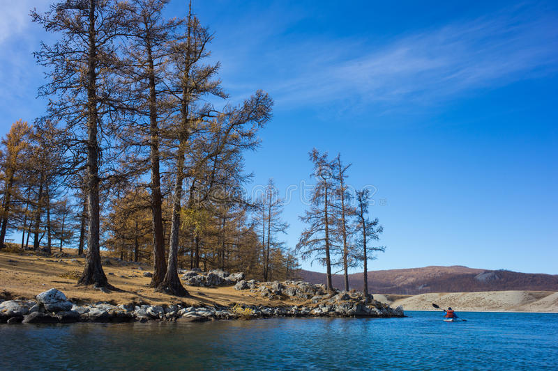 Kayak and river in Mongolia royalty free stock image