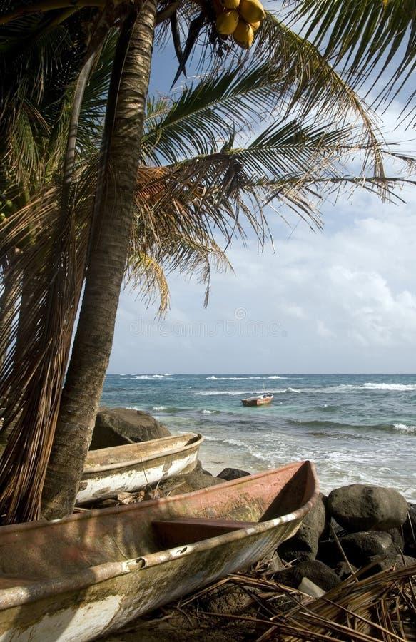 Kayak small fishing boats Caribbean Sea Big Corn Island Nicaragu