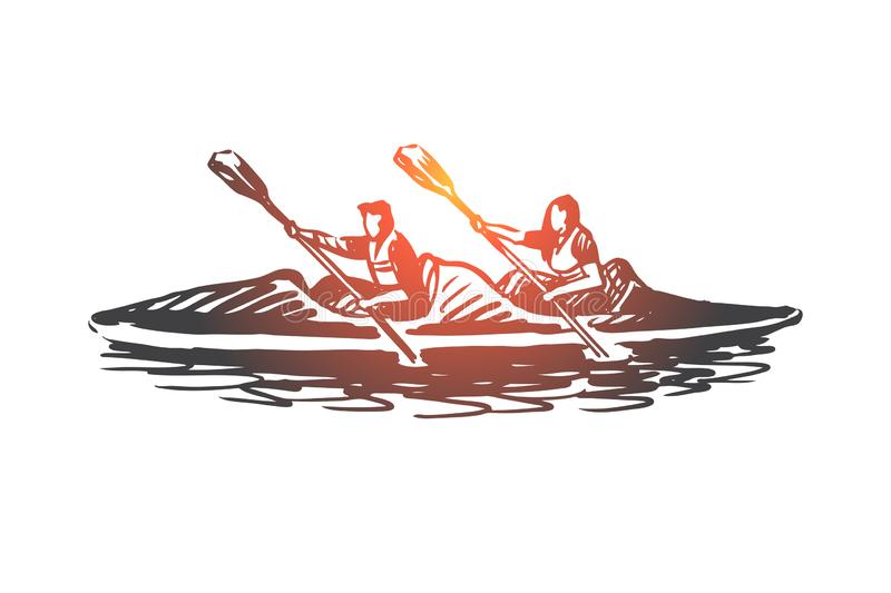 Kayak, sport, water, paddle, canoe concept. Hand drawn isolated vector. vector illustration