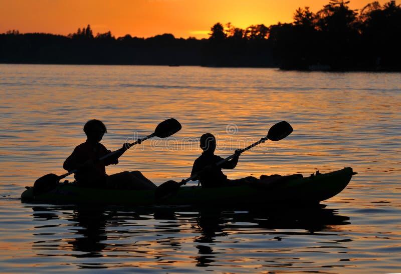 Kayak Sunset stock images