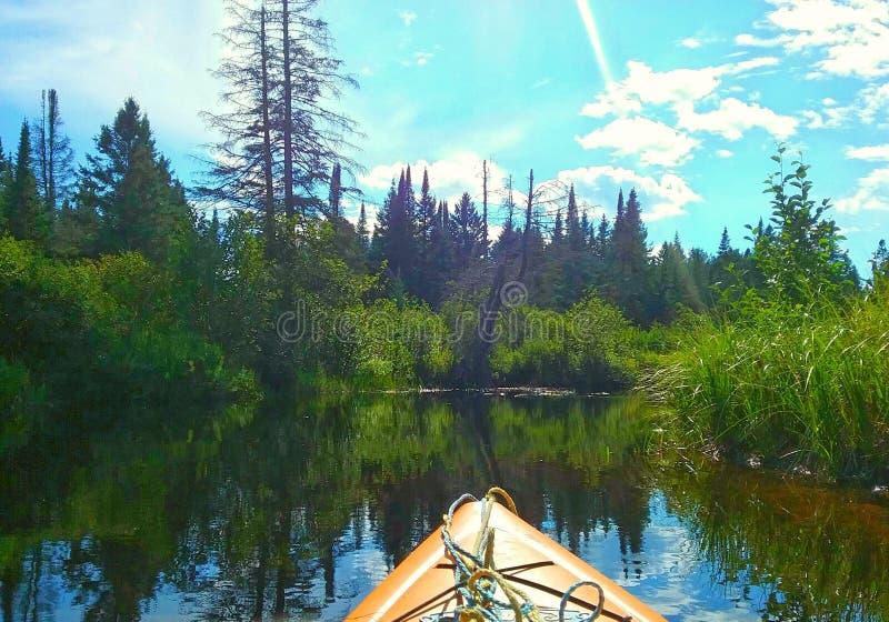 Kayak sur la rivière en parc d'algonquin image stock