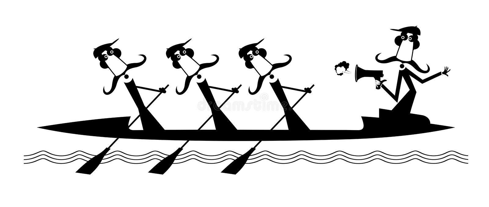 Kayak, three oarsman and quartermaster with megaphone isolated illustration vector illustration