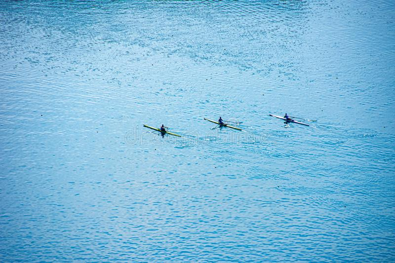 Kayak training on the Lake Bled in Slovenia. Kayak training on the Lake Bled royalty free stock photography