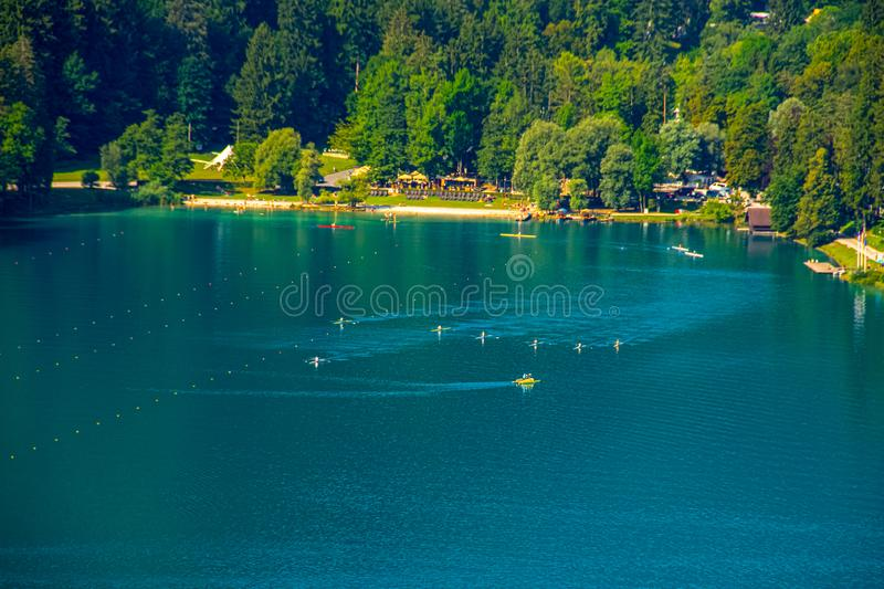 Kayak training on the Lake Bled in Slovenia. Kayak training on the Lake Bled during the suny day stock photos