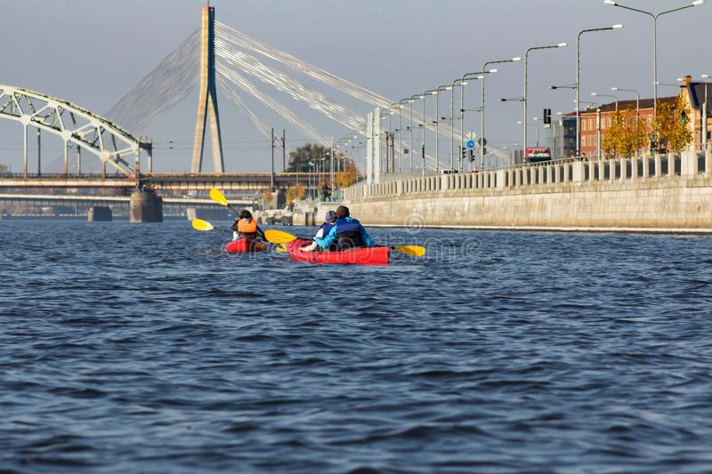 Kayak trip on the river Daugava and the canal around the old cit royalty free stock images