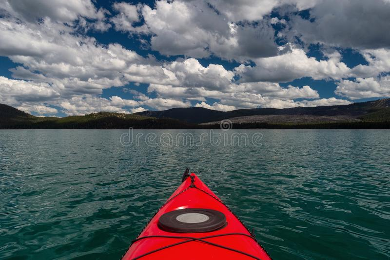 Kayak view of Paulina Lake in Oregon royalty free stock image
