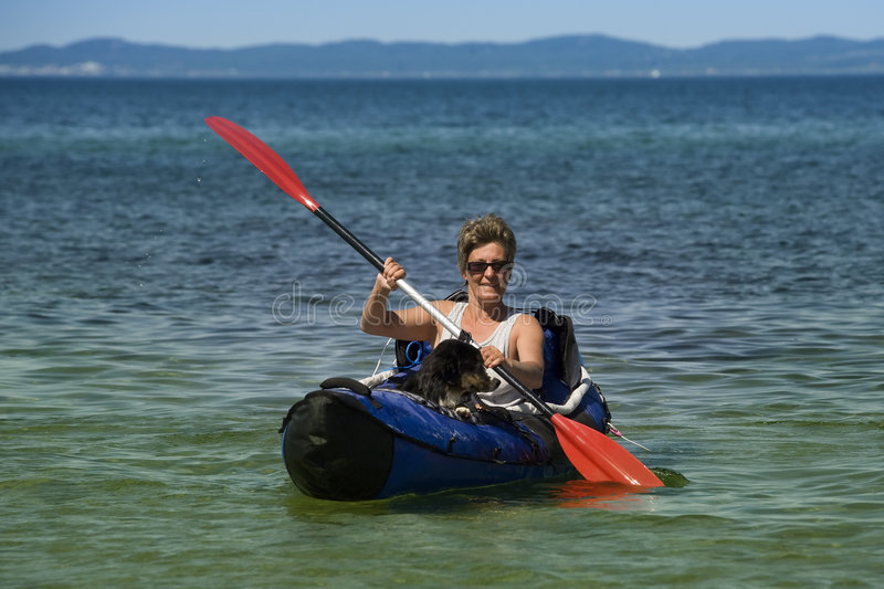 Download Kayak Woman and Dog stock photo. Image of adventure, activity - 7089210